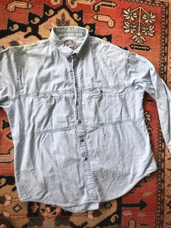 Vintage Levis chambray work shirt 1990s sun faded