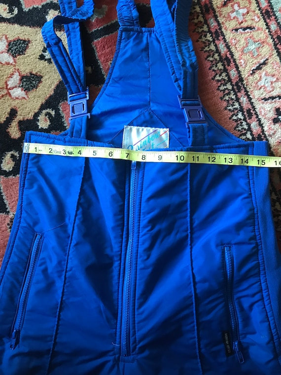 Vintage Rainbow West blue ski bibs medium - image 9