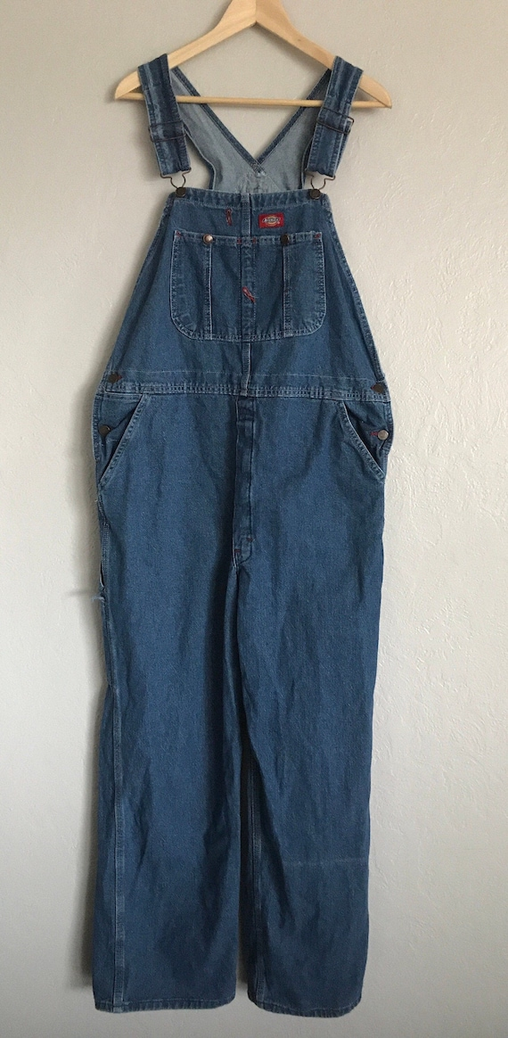 Vintage 90s Dickies denim overalls tagged 36x30