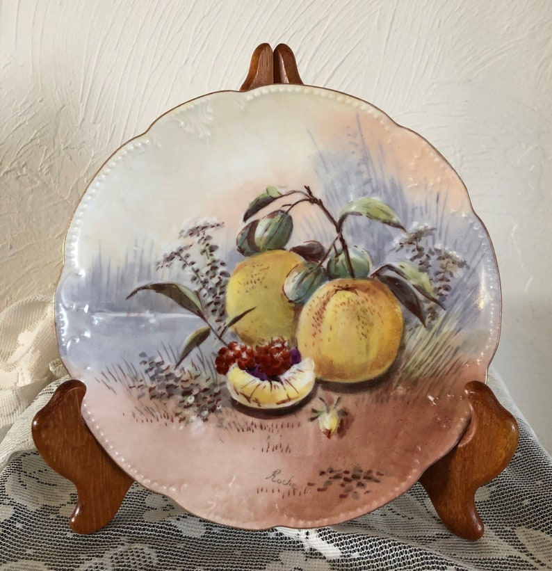 AKCD Antique dating 1900-1910. Pair of Lovely of Limoges Hand-Painted Porcelain Plates by Klingenberg and Dwenger France