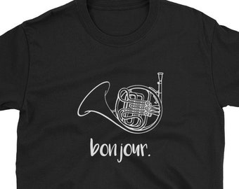e16c6b24 Bonjour French Horn / funny Cute French Hornist Player Music Musician  Teacher Professor Student Marching Band Geek / Birthday Present Idea