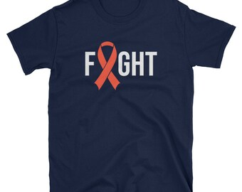 478e4edea2 Fight Leukemia Cancer / Funny Cute Orange Ribbon September Awareness Month  Chemo Chemotherapy Fighter Survive / Birthday Present Idea Shirt