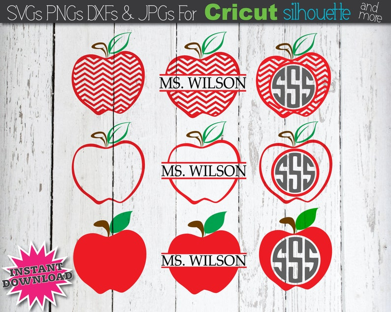 Apple SVG Chevron Apple SVG Apple Monogram SVG Teacher svg Split Apple svg  Teacher Life svg Apple Vector svg Files for Cricut Silhouette