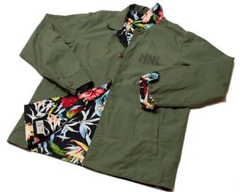 Ripstop x Hawaiian Floral Reversible Jacket / Made in Hawaii U.S.A.