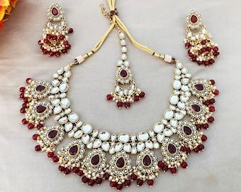 Bollywood Ethnic necklace Pirai Kundan Broach Attached Small Pearls Studded Jewelry set Indian Ethnic Simple Beautiful Kundan set earrings