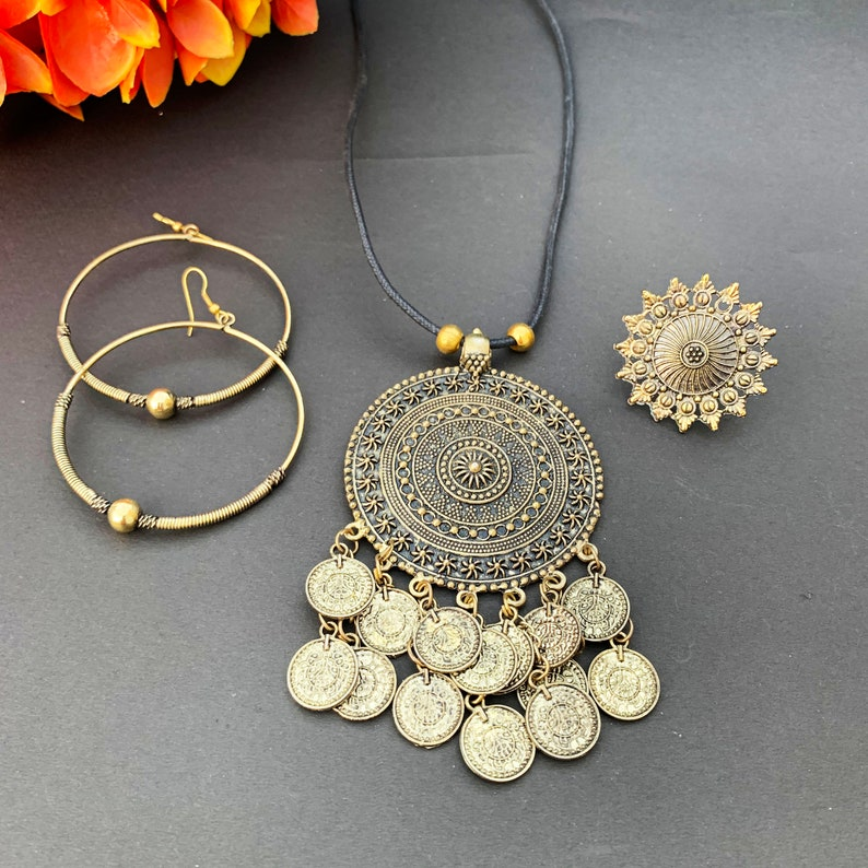 Oxidized Pendant,Hoops and Ring set-Afghani Jewelry-Afghani Pendant-Afghani Hoops-Afghani Ring-Indian Ethnic Jewelry-Oxidized Jewelry