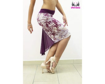Asymmetrical skirt for the Argentine tango flared and soft plum with front split Plum red skirt with long front toe