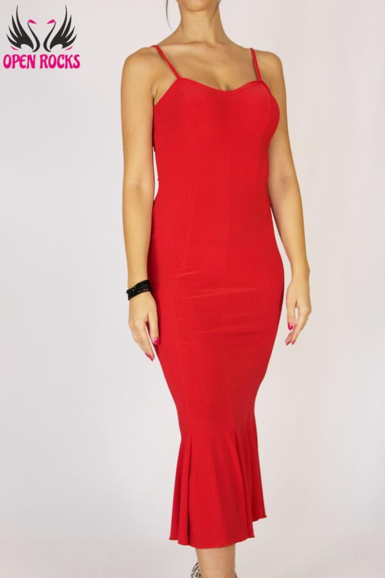 Argentinische Tango rot langes Kleid enge rote ...