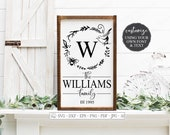 SVG Monogram Last Name Cutting File Bird Bee Farmhouse Rustic Wreath Sign Customize Using Your Font DXF EPS Vinyl Stencil htv