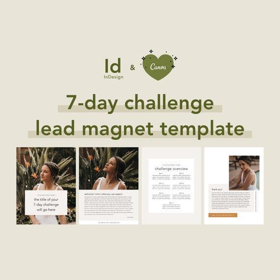 7 Day Challenge Lead Magnet Ebook Template Opt In Freebie Email Marketing Email List Growth Marketing Template Canva Indesign