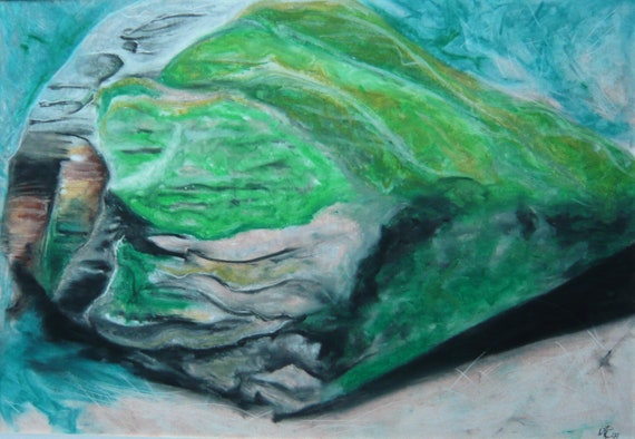 ORIGINAL /'Rock #1/' Oil Pastels Painting