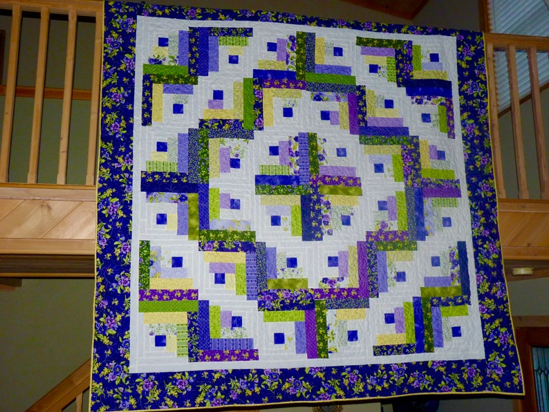 Brilliant Purple/Yellow/Green Curved Log Cabin Quilt - Queen or Double