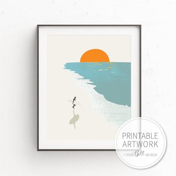 SURREAL BEACH PEEL PAINTING A3 ART PRINT POSTER GZ5488