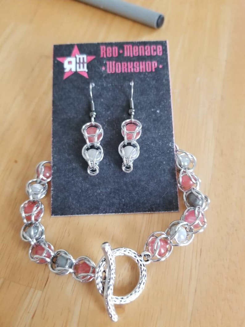 Pink and Gray bead capture bracelet /& earrings