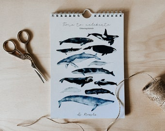 Birthday Calendar Whales   multi-year calendar   Watercolor   Whale species   Wall Calendar Din A5   Recycled Paper Environment   free shipping