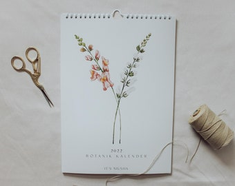 2022 Annual Calendar | Botanical Watercolor | Wildflowers | Wall Calendar A4 | Recycled paper Environment | free shipping