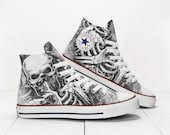 Skeleton Ribs Custom Horror Sneakers based on Converse All Star High Top Chuck Taylor shoes
