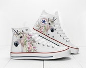 Custom Unicorn with Flowers Converse All Star Classic High Top Chuck Taylor White Printed Bride 39 s Sneakers