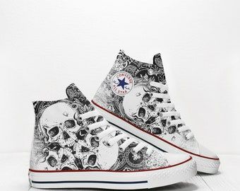 36a4d32b7652 Three Skulls Custom Converse All Star High Top Chuck Taylor Printed Sneakers