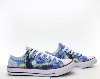 0b92f484ec8 Van Gogh Starry Night Painting Custom Sneakers based on PROSPECT AVENUE  White Low Top shoes