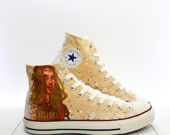 a7c519cedc90 Nirvana Fanboy Custom Rock Converse All Star Chuck Taylor High Top Sneakers  SIze US M7