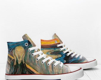 Munch Scream painting Custom Sneakers based on PROSPECT AVENUE White High  Top shoes 29b1425003fe