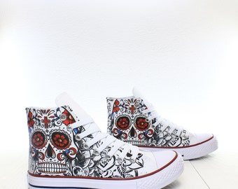 5ee1e8b227 Calavera Decorated Mexican Skull Custom Sneakers based on PROSPECT AVENUE  White High Top shoes