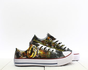 The One Ring Fantasy Custom Hobbit s Sneakers based on PROSPECT AVENUE  White Low Top shoes 5 US Women s size 980096db2