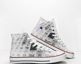 Chemical Elements Black and white Print Converse All Star Classic High Top  Custom Sneakers Science Shoes 53250f6992e7