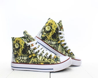 cfad8b51a602 Metallica Mummy Skull Custom Sneakers based on PROSPECT AVENUE White High Top  shoes Rock Horror Style