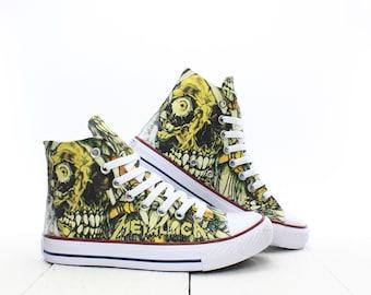 b91c636cc6e7 Metallica Mummy Skull Custom Sneakers based on PROSPECT AVENUE White High  Top shoes Rock Horror Style