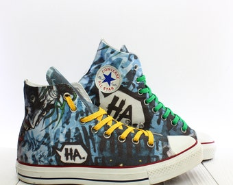 a8073511ab2838 Handmade Joker Custom Shoes Converse All Star Chuck Taylor High Top  Sneakers SIze US M8 EU 41
