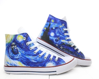 TARDIS in the Starry Night Custom Sneakers, Doctor Who Custom Shoes, Van Gogh Hand Painted Shoes, Personalized Sneakers, PROSPECT AVENUE