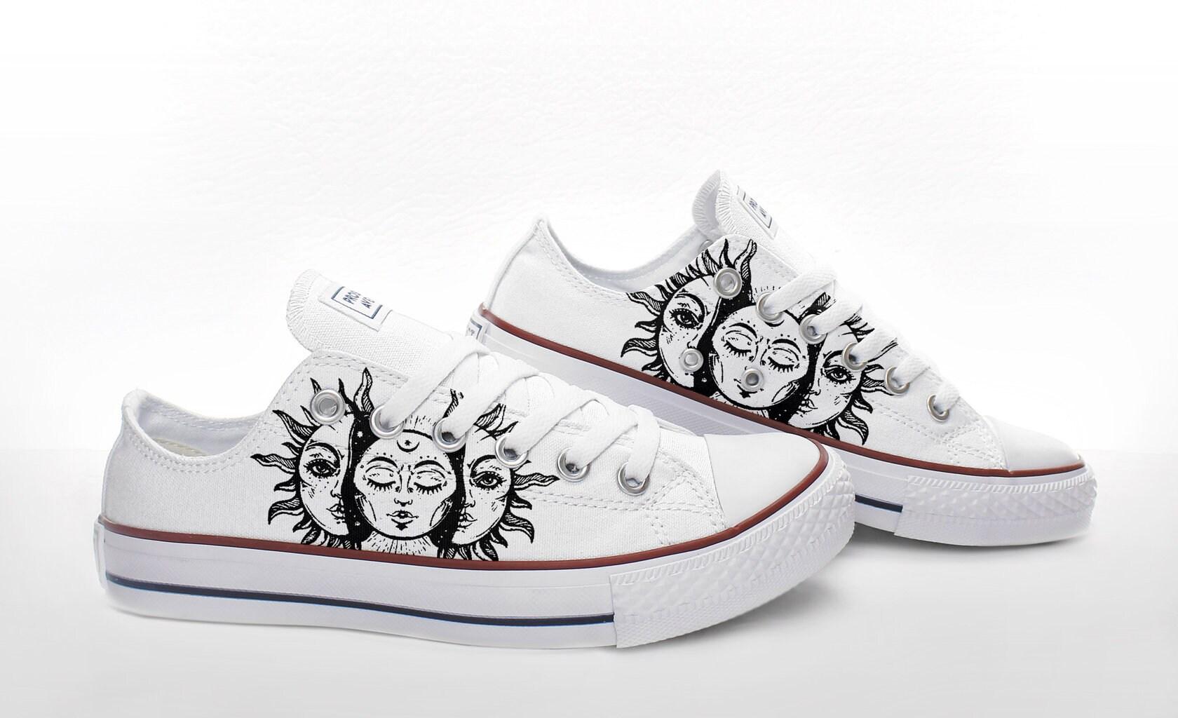 a43da267a180e Sun Custom Canvas Sneakers based on PROSPECT AVENUE White Low Top shoes for  Ari