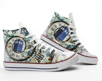 Doctor Who Custom Sneakers, Tardis Custom Shoes, Time Vortex Hand Painted Shoes, High Top, Christmas Gift, PROSPECT AVENUE