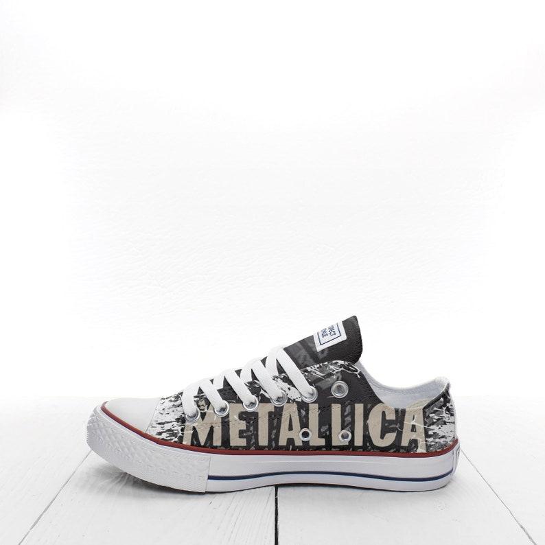 b5f6e96e213c8 Metallica Skull heads Custom Sneakers based on PROSPECT AVENUE White Low  Top shoes