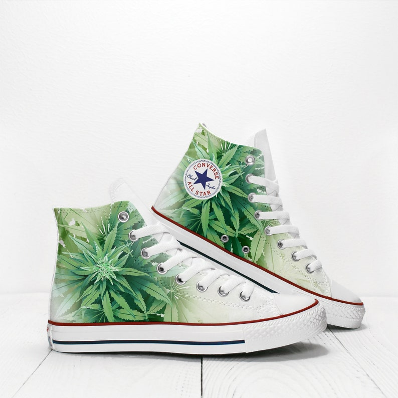 2b29fc77b092 Cannabis Leaves Custom Rasta Sneakers based on Converse All