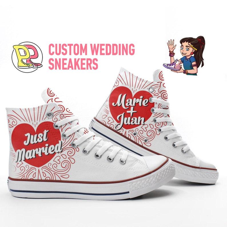 Nur neue verheiratet Mi benutzerdefinierte Namen Hochzeit Sneakers basierend auf PROSPECT AVENUE weiß High Top Schuhe