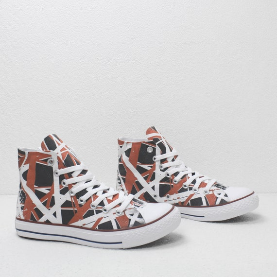Van Halen Red and White Stripes Custom printed Sneakers based on PROSPECT AVENUE White High Top shoes