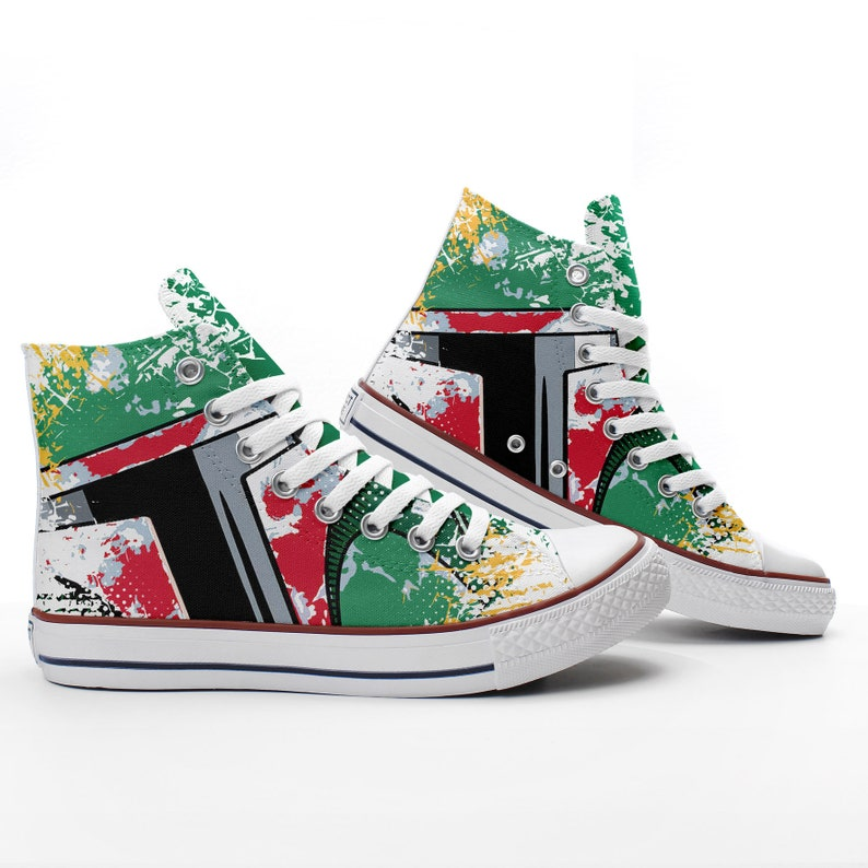 Star Wars Sneakers >> Bobba Fett Mandalore Custom Star Wars Sneakers Based On Prospect Avenue White High Top Shoes