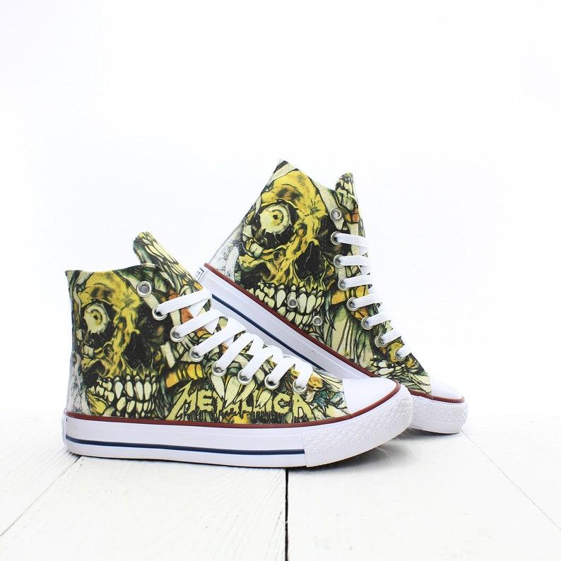 2d04eae5fbb73 Metallica Mummy Skull Custom Sneakers based on PROSPECT AVENUE White High  Top shoes Rock Horror Style