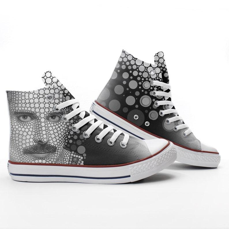b2d2d93f89ae Freddie Mercury Custom The Queen printed Sneakers based on