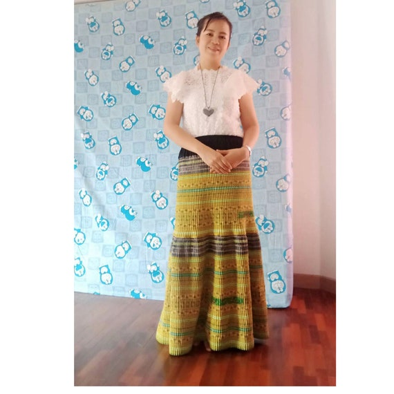Hill tribe skirt, Embroidered skirt, Beautiful lon