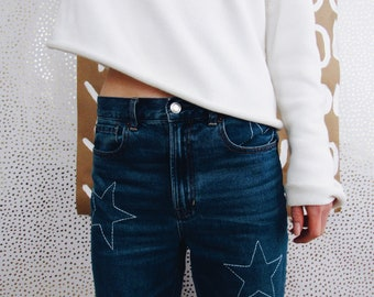 11449bae787 Hand Embroidered Jeans    White Stars
