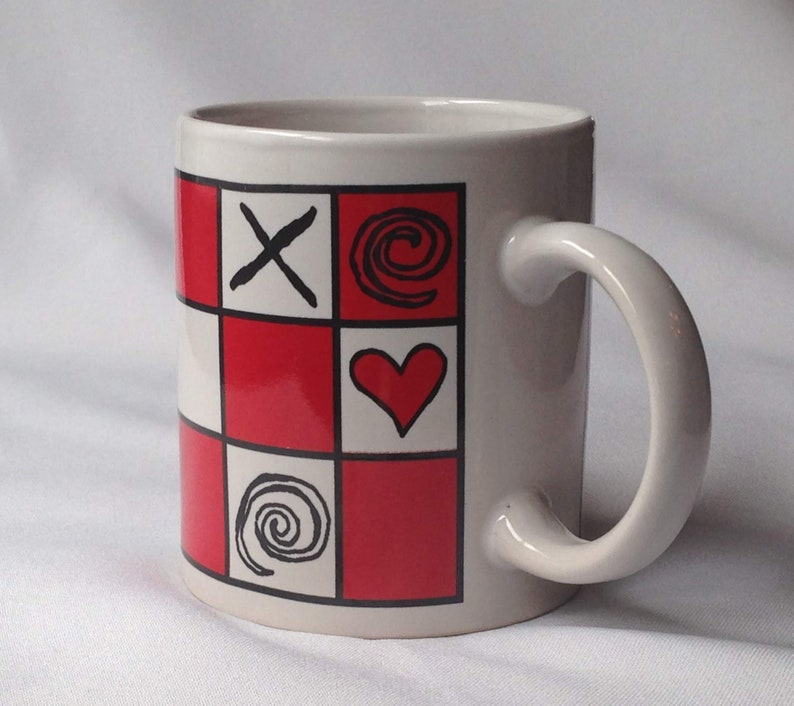 Vintage Valentines Tic Game Toe Hearts Sweetheart Mug Gift Decor Tea Ceramic Cup Tac 1990s Coffee Office Red Squares bg6yYvIf7