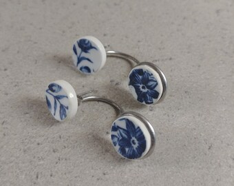 Broken china jewelry, Broken plate stud earrings, Ceramic round earrings, Porcelain jewelry, Chinese porcelain earrings, stud earrings