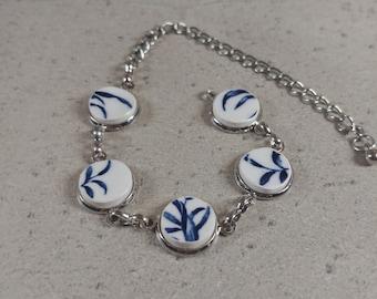 Broken China Bracelet, Antique Chinese Jewelry, Plate Jewelry, Bracelet China Pottery, Beach Pottery Jewelry, Broken Porcelain Bracelet