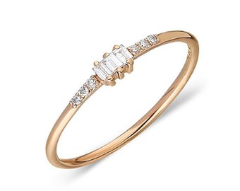 0.24CT Brilliant Diamond Ring in 14 RoseWhiteYellow Solid Gold