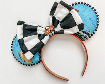 Cars Checkerboard Bow For Interchangeable Ears