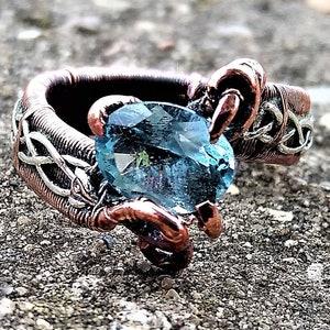 Gold Sterling Silver Copper Wire Wrapped Sky Blue Topaz Gemstone Elven Elvish Wedding Engagement Ring by ArcAlchemistOne